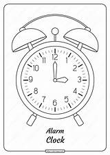 Clock Coloring Alarm Printable Pdf Outline sketch template