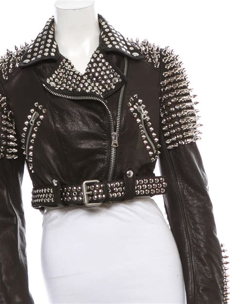 burberry brit studded leather jacket clothing bbr  realreal