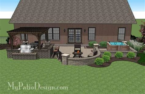 my patio design creative brick patio design with pergola and tub