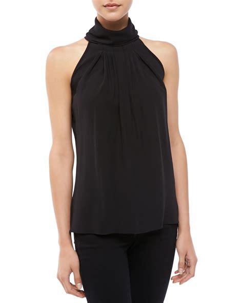 turtleneck blouse michael kors georgette pleated turtleneck blouse black in