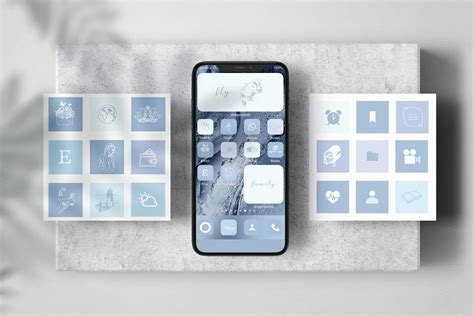 neutral tone aesthetic ios 14 icons app icon blue