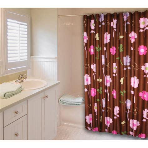 in style lindsay shower curtain pink and brown bath
