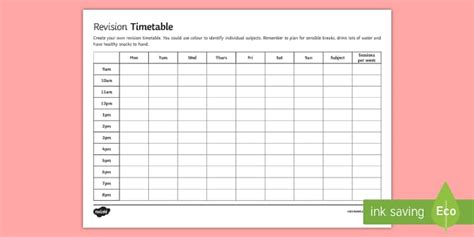 Blank Revision Timetable Template by Secondary Blank Revision Timetable Revision Timetable Gcse