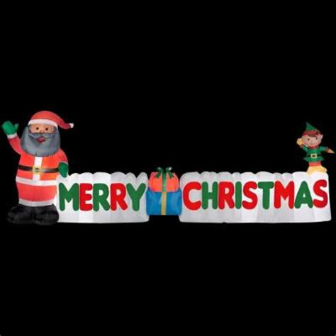 gemmy 12 ft long inflatable american santa and merry christmas sign 35659 the