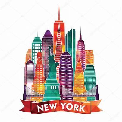 York Skyline Vector Illustration Manhattan Usa State