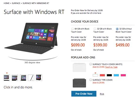 microsoft surface rt prices revealed starts