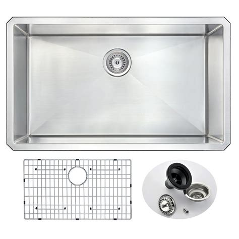 kitchen sinks stainless steel undermount bowl anzzi vanguard series undermount stainless steel 32 in 0 9835