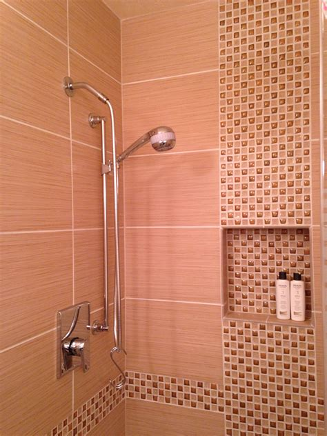tile  offset vertical mosaic inlay shower