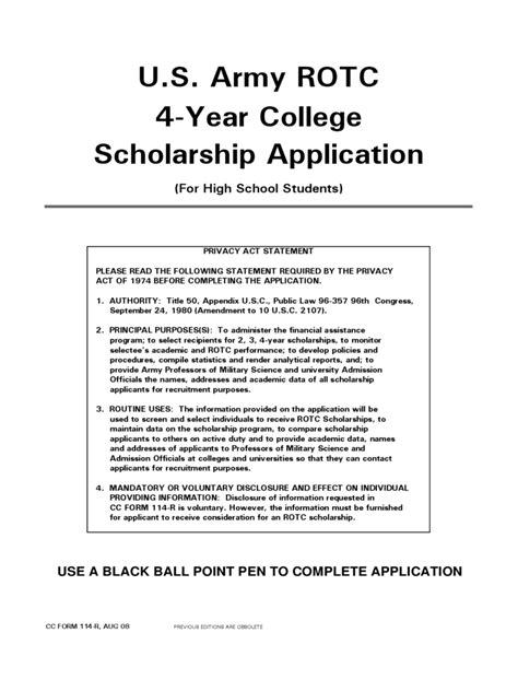 rotc scholarship resume sle army cadet college application form 2 free templates in pdf word excel