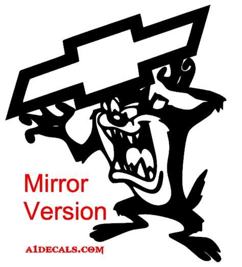 taz devil tasmanian chevy decals decal mirror sticker version