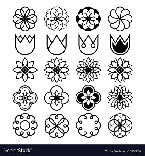 geometric flowers abstract flower set tulip shap vector