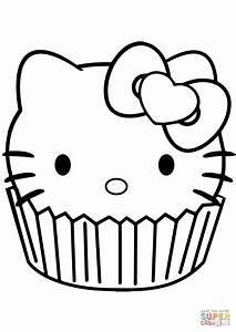 Hello Kitty Cupcake coloring page | Free Printable ...