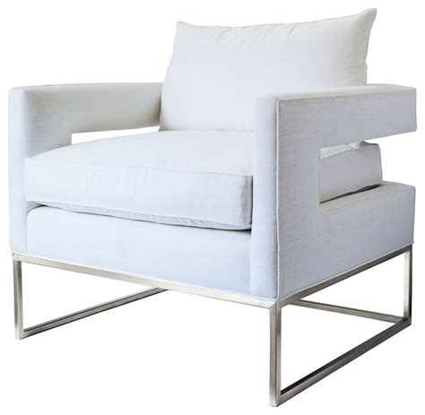 bevin accent chair silver white linen contemporary