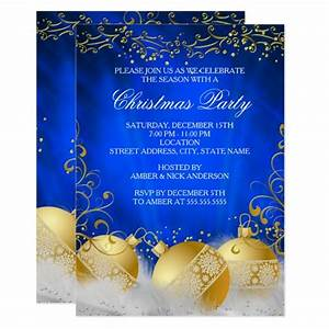 Royal Blue Gold Bauble White Christmas Party Invitation
