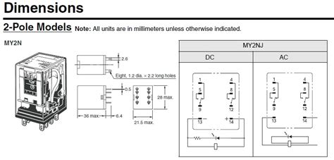 dpdt relay omron my2n 240vac 24vdv electronics