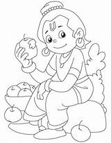 Krishna Coloring Pages Baby Lord Face Drawings Colouring Little Sketch Clipart Apple Drawing Line Relishing Flute Printable Ganesha Popular Template sketch template
