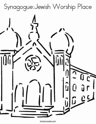 Coloring Worship Place Synagogue Pages Drawing Jewish