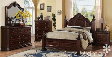 New! Chanelle King Size Bed Set, 5 Pc Traditional Cherry