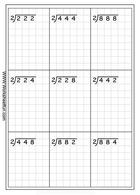 division worksheets on graph paper division 3 digits by 1 digit without remainders 20 worksheets free printable