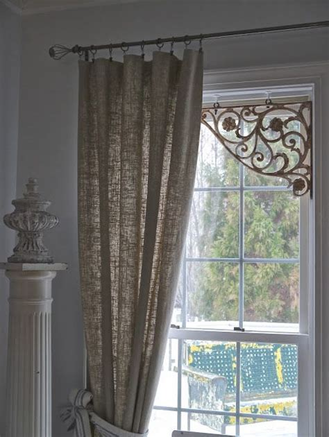 chateau chic metal corner window brackets metal rod with unstructured curtains