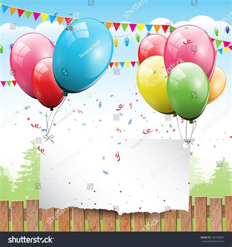 colorful birthday background balloons place text stock