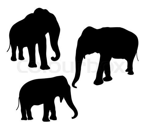 elephant silhouette front vector elephant silhouette stock vector colourbox
