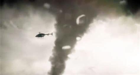 helicopter  sucked   tornado video ebaums world