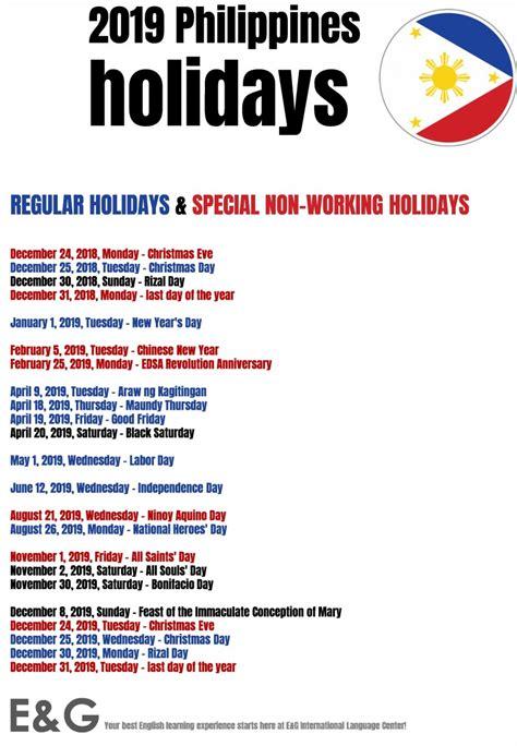 public holidays philippines notice international