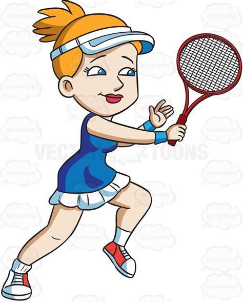 female tennis player hits  backhand winner cartoon clipart vector vectortoons stockimage