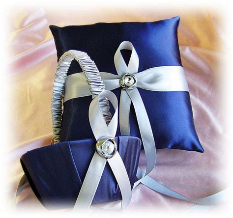navy blue and grey wedding ring bearer pillow and flower