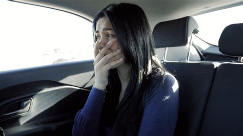 Sad Woman Crying In Car Back Seat Slow Motion Stock Video