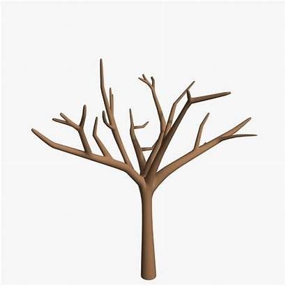 Tree Cartoon 3d Trunk Clipart Leaves Without