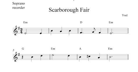 Scarborough Fair, Free Soprano Recorder Sheet Music Notes