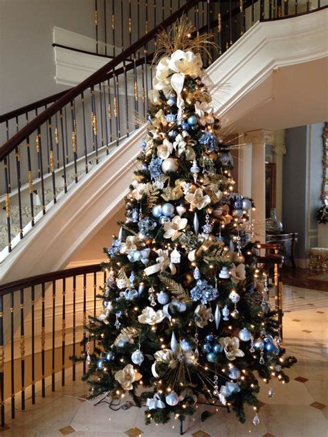 elegant decorated christmas tree blue gold silver