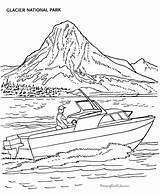 Coloring Boat Glacier National Boats Parks Printable Power Sheets Lake Mountain Motor Transport Printables Speed Adult Homework Colouring Worksheets Fishing sketch template