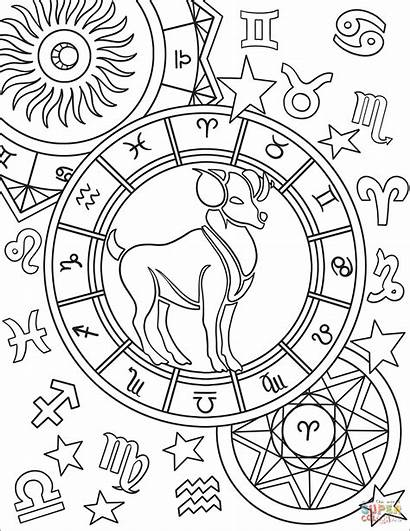 Zodiac Aries Coloring Pages Sign Signs Printable