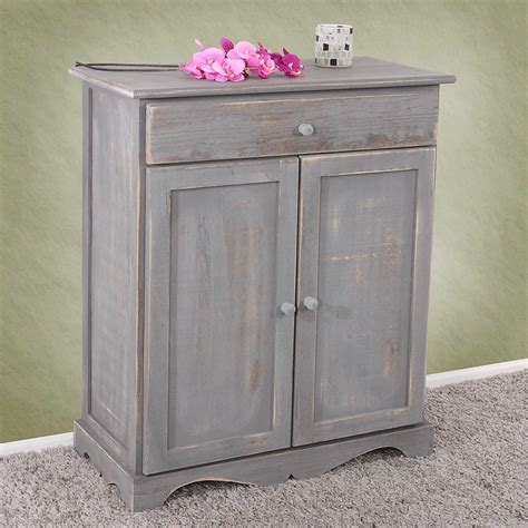 Shabby Chic Look by Kommode Schrank 78x66x33cm Shabby Look Vintage Dunkelgrau