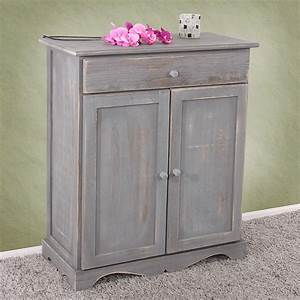 Schrank Vintage Look : kommode schrank 78x66x33cm shabby look vintage dunkelgrau ~ Bigdaddyawards.com Haus und Dekorationen