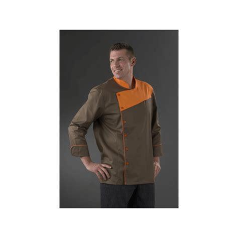 veste cuisine homme veste chocolatier ou cuisinier couleur marron orange