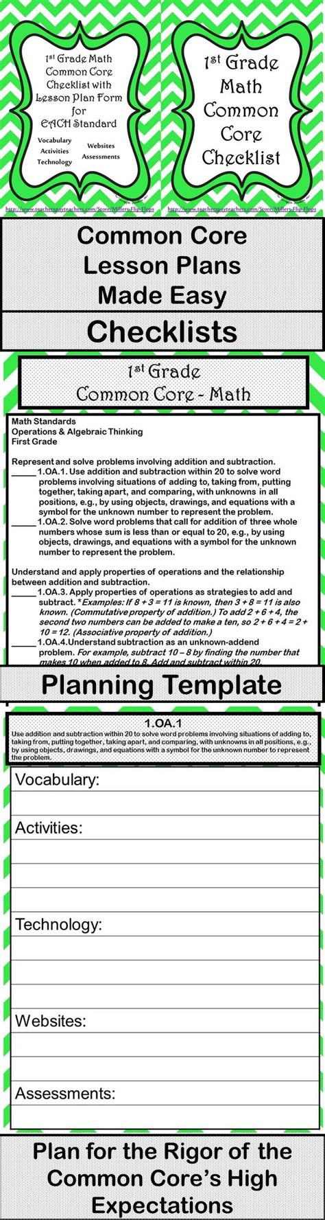 lesson plan template using common standards 1st grade math common checklist lesson planning form green chevron high expectations