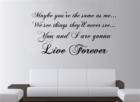 Bedroom Wall Stickers Lyrics by Aliexpress Buy Oasis Live Forever Lyrics Large Wall