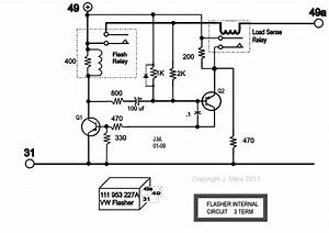 Car Turn Signal Flasher Circuit With Load Malfunction Indicator