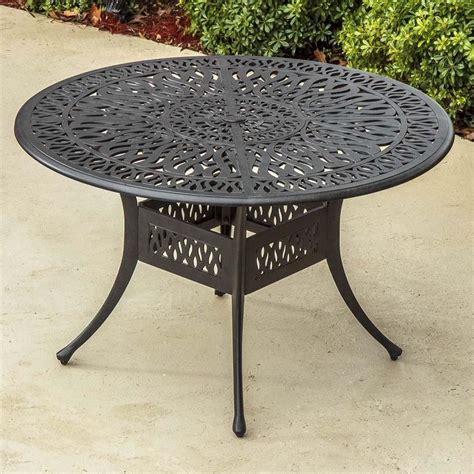 cast aluminum patio table rosedown 48 inch round cast aluminum patio dining table by