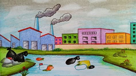 draw scenery  environmental pollutionstep