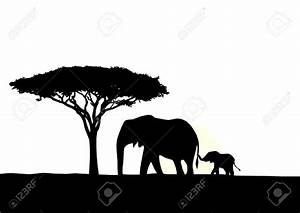 Illustration Of African Elephant With Baby Silhouette ...