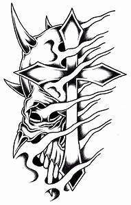 Horned Cross Skull by Stark-Sketches on DeviantArt