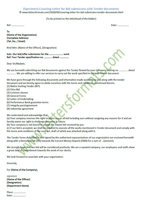 covering letter  bid submission  tender documents