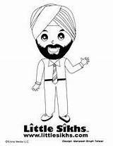 Sikh Coloring Singh Sikhs Colouring Mr sketch template