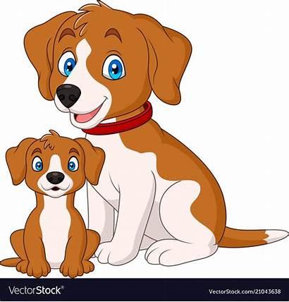 Dog Puppy Mother Vector Cartoon Illustration Vectorstock