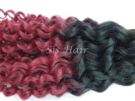 Ombre Remy Human Hair #1b/burgundy Deep Curly